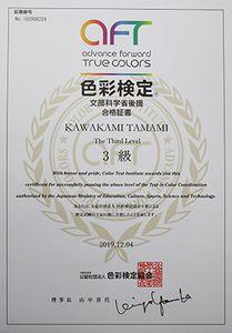 文部科学省後援色彩検定協会色彩検定3級合格証書